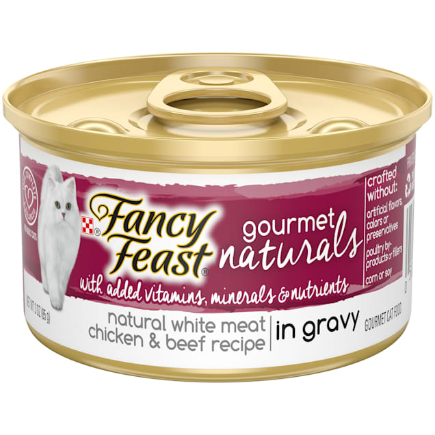 Purina Fancy Feast Gourmet Naturals White Meat Chicken & Beef Recipe Gravy Wet Cat Food, 3 oz., Case of 12 - Carousel image #1