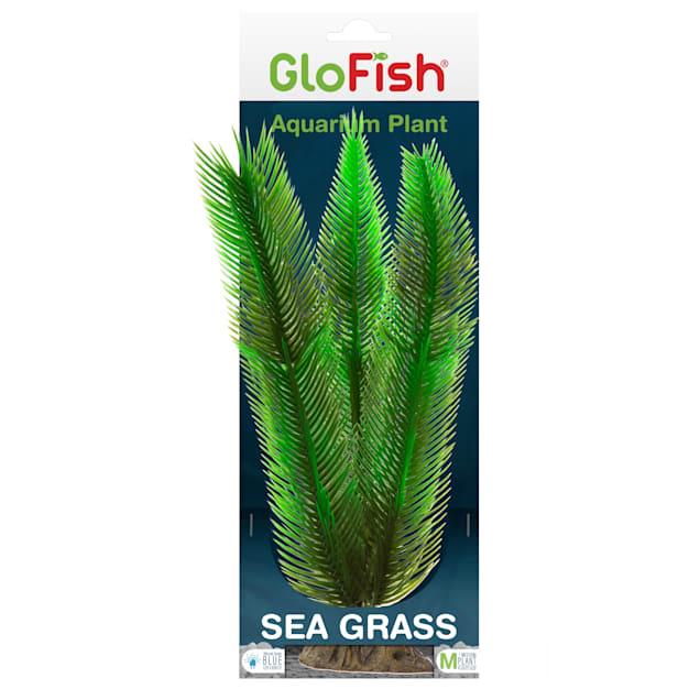 GloFish Sea Green Grass Plant Fluorescent Under Blue LED Light Aquarium Decor, Medium - Carousel image #1