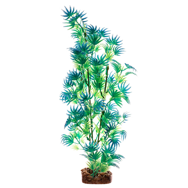 GloFish Green And Blue Plant Fluorescent Under Blue LED Light Aquarium Decor, Large - Carousel image #1