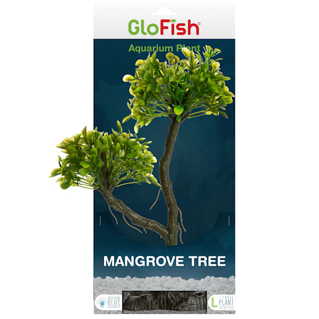 GloFish Mangrove Green Tree Plant Fluorescent Under Blue LED Light Aquarium Decor, Medium - Carousel image #1