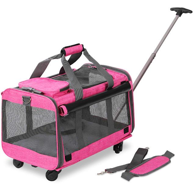 "Kopeks Pink Pet Carrier with Detachable Wheels, 20"" L X 13"" W X 11.5"" H - Carousel image #1"
