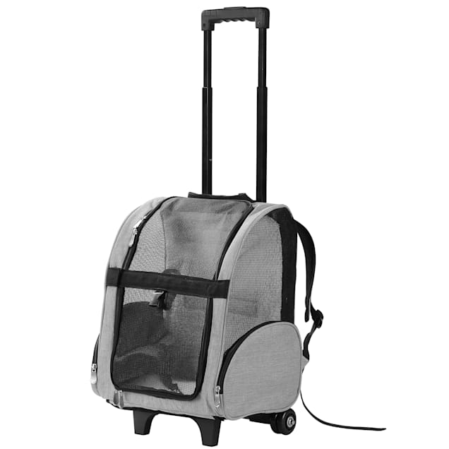 "Kopeks Gray Deluxe Backpack Pet Travel Carrier with Wheels, 13"" L X 12"" W X 20"" H - Carousel image #1"