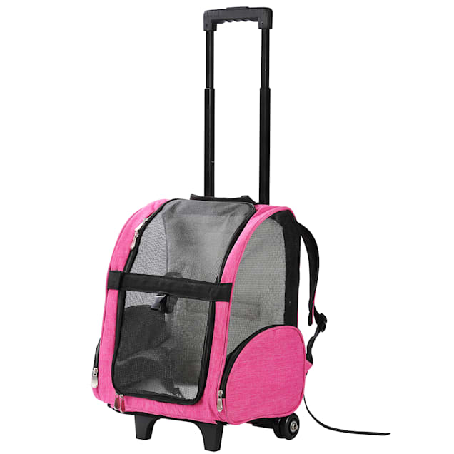 """Kopeks Pink Deluxe Backpack Pet Travel Carrier with Wheels, 13"""" L X 12"""" W X 20"""" H - Carousel image #1"""