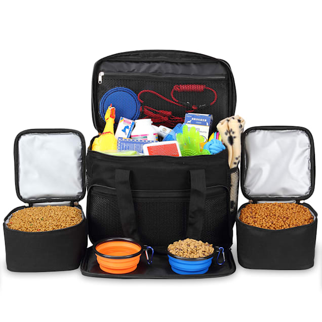 """Kopeks Cat and Dog Black Travel Bag Includes 2 Food Carriers, 2 Bowls and Place mat, 15.5"""" L X 9"""" W X 15.5"""" H - Carousel image #1"""