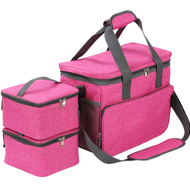 "Kopeks Cat and Dog Pink Travel Bag Includes 2 Food Carriers, 2 Bowls and Place mat, 15.5"" L X 9"" W X 15.5"" H - Carousel image #1"
