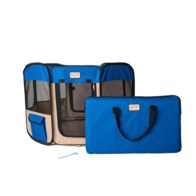 """Armarkat Model PP001B Portable Pet Playpen in Blue and Beige Combo, 36"""" L X 36"""" W X 24"""" H - Carousel image #1"""