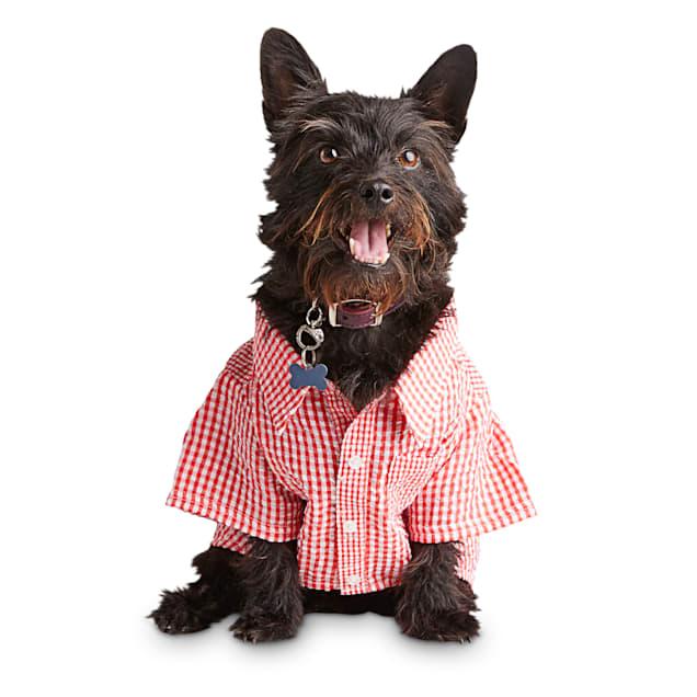 Bond & Co. Red Gingham Seersucker Dog Button-Up Shirt, X-Small - Carousel image #1