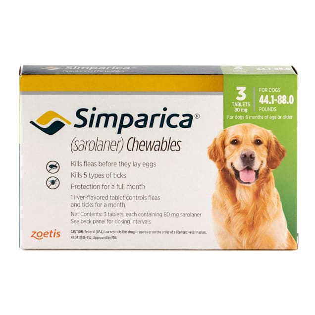 Simparica Chewable for Dogs 44.1-88 lbs, 3 Month Supply - Carousel image #1