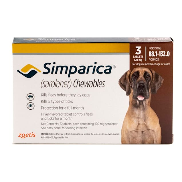 Simparica Chewable for Dogs 88.1-132 lbs, 3 Month Supply - Carousel image #1
