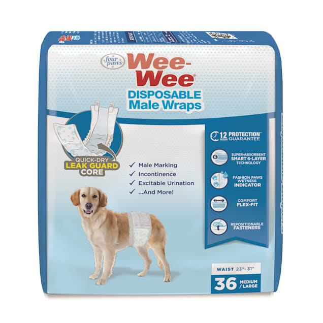 Wee-Wee Disposable Male Wraps for Dogs, Medium/Large, Count of 36 - Carousel image #1