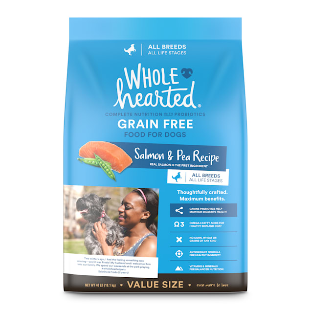 WholeHearted Grain Free All Life Stages Salmon and Pea Recipe Dry Dog Food, 40 lbs. - Carousel image #1