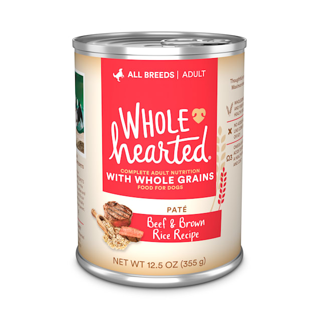 WholeHearted Beef & Brown Rice Recipe Pate with Whole Grains Wet Dog Food, 12.5 oz., Case of 12 - Carousel image #1