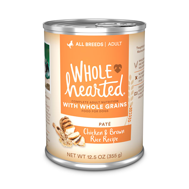 WholeHearted Chicken & Brown Rice Recipe Pate with Whole Grains Wet Dog Food, 12.5 oz., Case of 12 - Carousel image #1