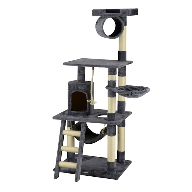 """Go Pet Club Classic Gray Cat Tree with Sisal Covered Posts, 62"""" H - Carousel image #1"""