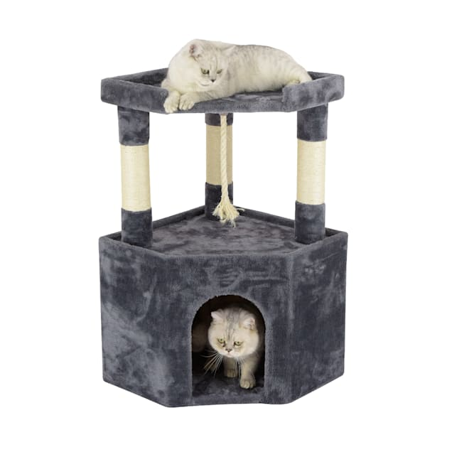 "Go Pet Club Gray Cat Tree Condo with Large Perch, 32"" H - Carousel image #1"