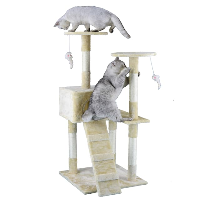 "Go Pet Club Economical Beige Cat Tree Condo with Sisal Covered Posts, 51.25"" H - Carousel image #1"