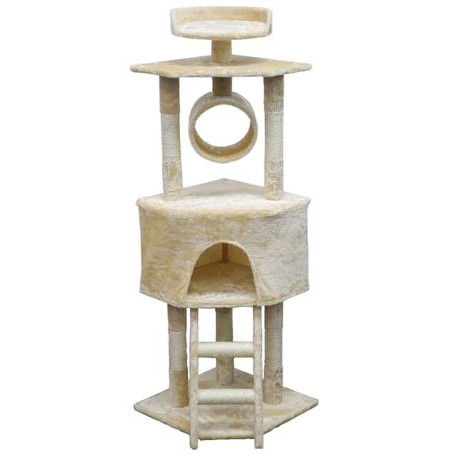 """Go Pet Club Economical Beige Cat Tree with Sisal Covered Posts, 56.5"""" H - Carousel image #1"""