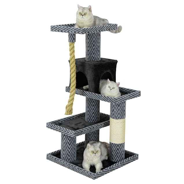 "Go Pet Club Sequoia Cat Tree Condo with Jungle Rope and Sisal Scratching Post, 49.5"" H - Carousel image #1"