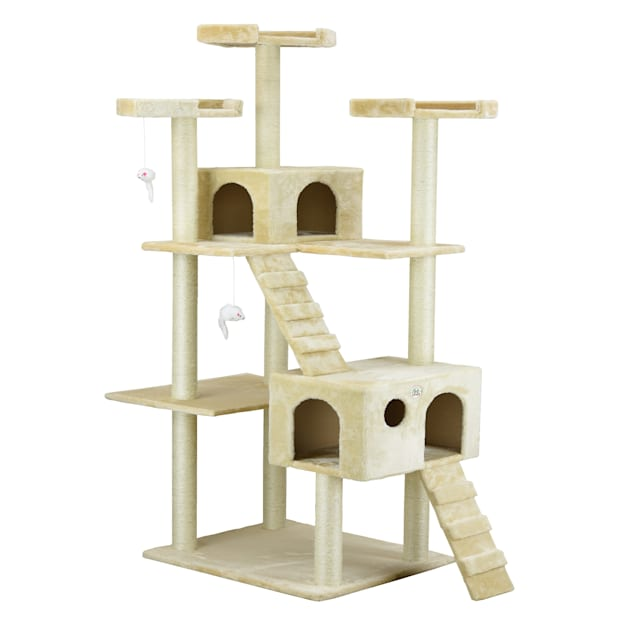 """Go Pet Club Classic Beige Cat Tree Furniture with Sisal Scratching Posts, 72"""" H - Carousel image #1"""