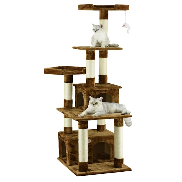"""Go Pet Club Classic Brown Cat Tree Condo Furniture with Sisal Scratching Posts, 67.25"""" H - Carousel image #1"""