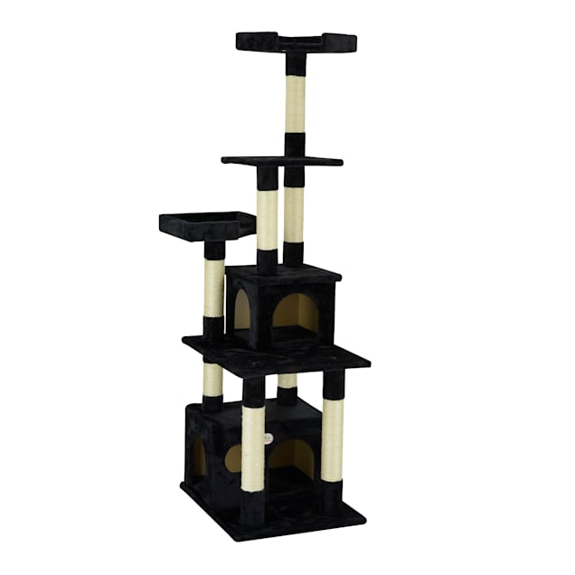 """Go Pet Club Classic Black Cat Tree Condo Furniture with Sisal Scratching Posts, 67.25"""" H - Carousel image #1"""