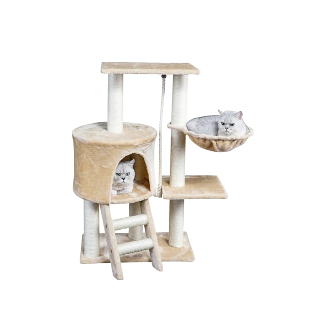 """Go Pet Club Beige Cat Tree Condo with Sisal Covered Posts F38, 38"""" H - Carousel image #1"""