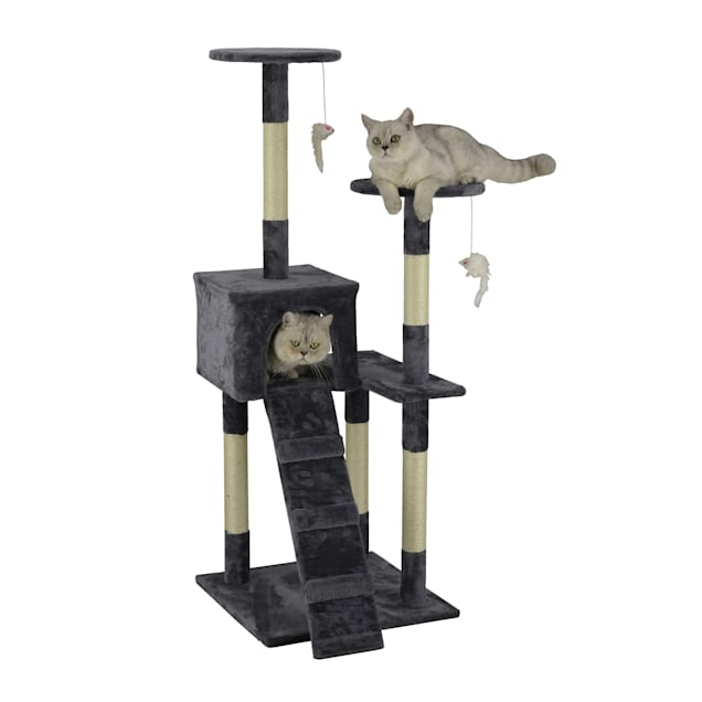 """Go Pet Club Economical Gray Cat Tree Condo with Sisal Covered Posts, 51.25"""" H - Carousel image #1"""