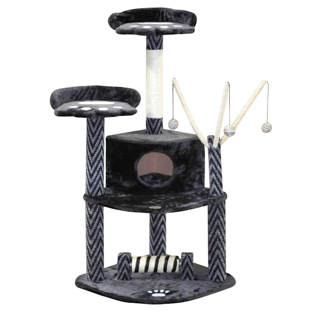 "Go Pet Club Black Cat Tree House with Dangling Toys F19, 50"" H - Carousel image #1"