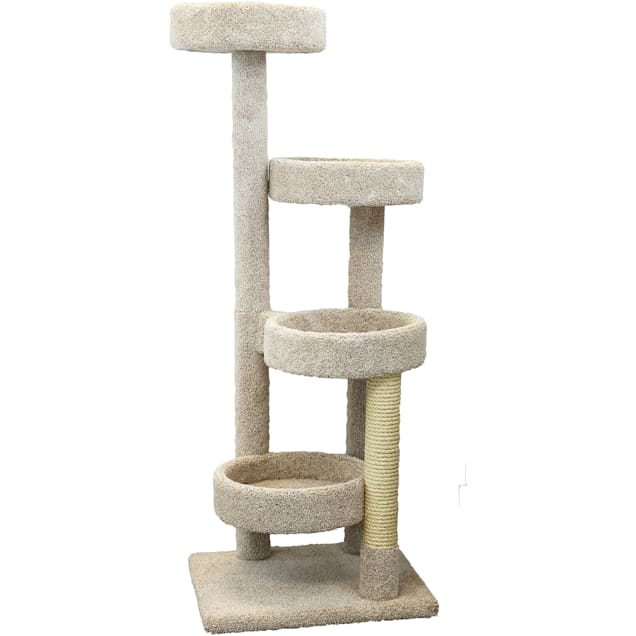 """New Cat Condos 4 Level Solid Wood Tan Cat Playground, 61"""" H - Carousel image #1"""