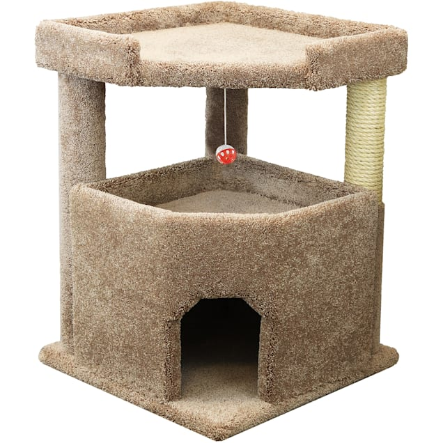 """Prestige Cat Trees Solid Wood Brown Condo Mansion, 32"""" H - Carousel image #1"""