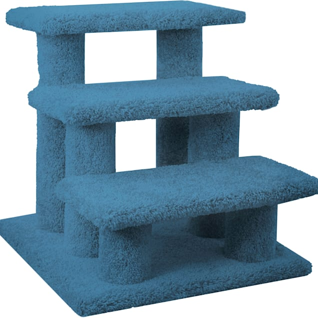 """New Cat Condos 3 Level Carpeted Premier Blue Post Stairs, 21"""" H - Carousel image #1"""