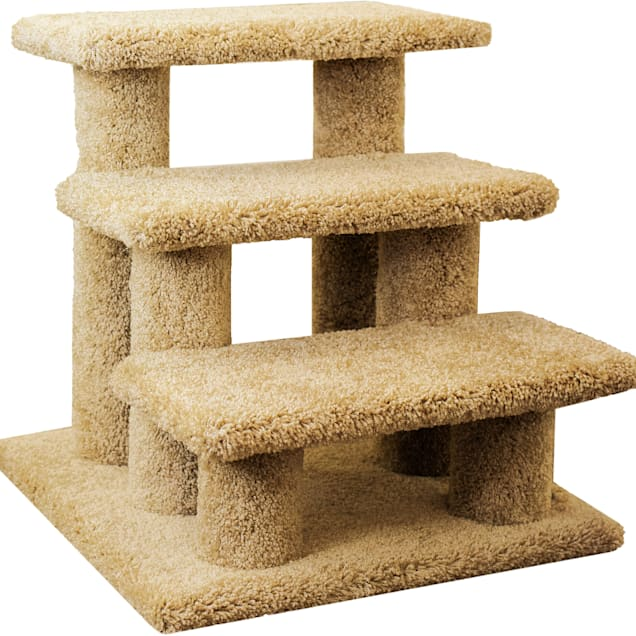 """New Cat Condos 3 Level Carpeted Premier Brown Post Stairs, 21"""" H - Carousel image #1"""