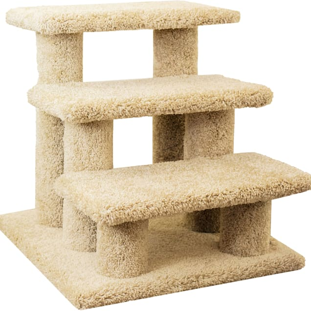 """New Cat Condos 3 Level Carpeted Premier Tan Post Stairs, 21"""" H - Carousel image #1"""