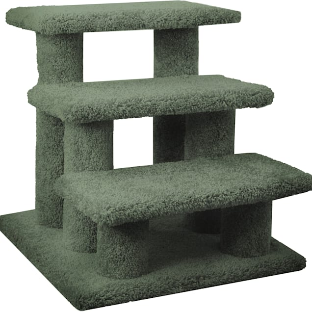 """New Cat Condos 3 Level Carpeted Premier Green Post Stairs, 21"""" H - Carousel image #1"""