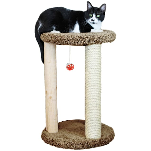 "New Cat Condos 1 Level Premier Brown Round Multi-scratcher, 24"" H - Carousel image #1"