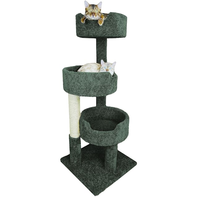 """New Cat Condos 3 Level Green Deluxe Kitty Pad, 52"""" H - Carousel image #1"""