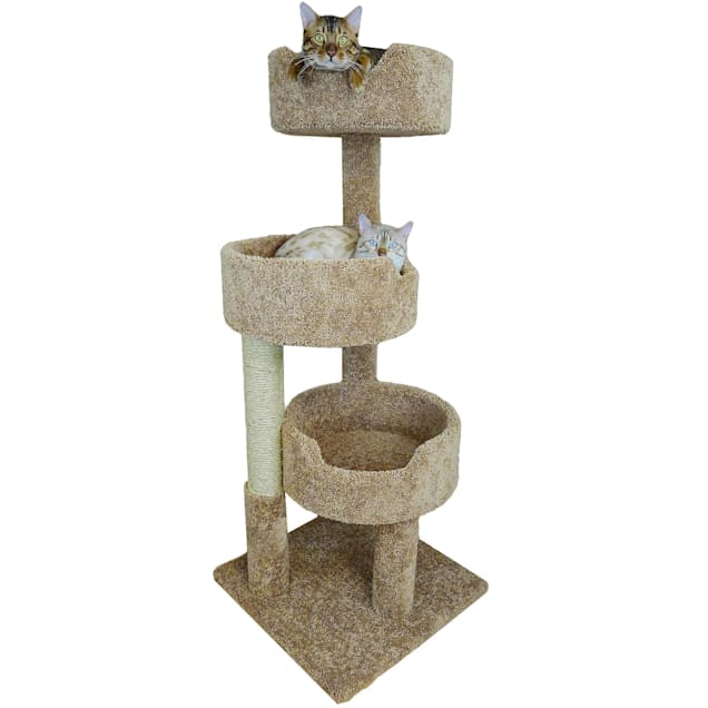"""New Cat Condos 3 Level Brown Deluxe Kitty Pad, 52"""" H - Carousel image #1"""