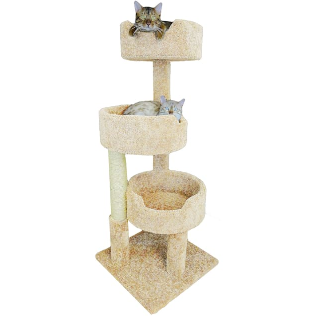 """New Cat Condos 3 Level Tan Deluxe Kitty Pad, 52"""" H - Carousel image #1"""