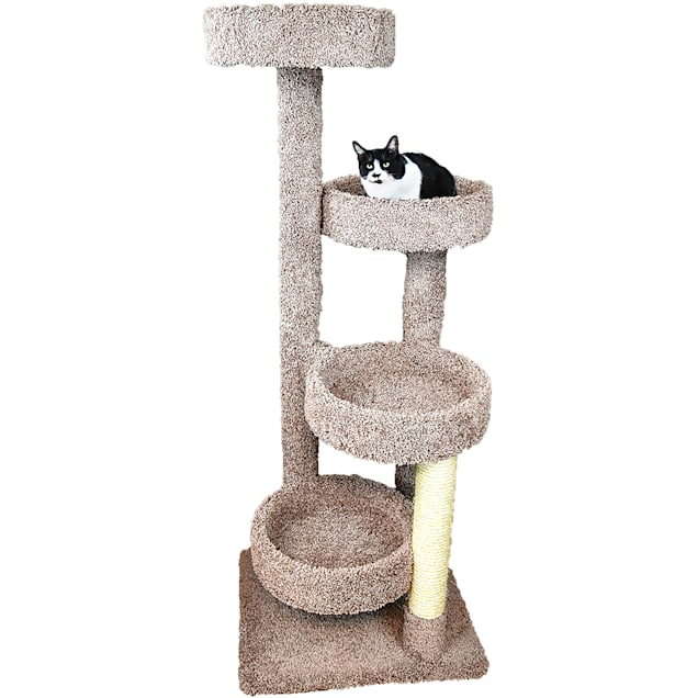 """New Cat Condos 4 Level Solid Wood Brown Cat Playground, 61"""" H - Carousel image #1"""