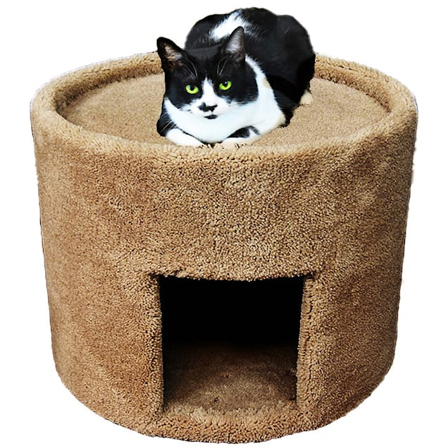"""New Cat Condos Carpeted Brown Cat Bed and House, 17"""" H - Carousel image #1"""