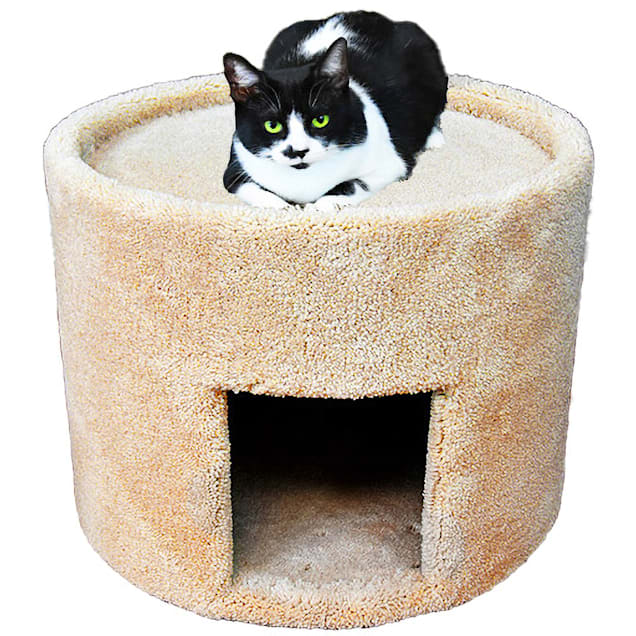 """New Cat Condos Carpeted Tan Cat Bed and House, 17"""" H - Carousel image #1"""