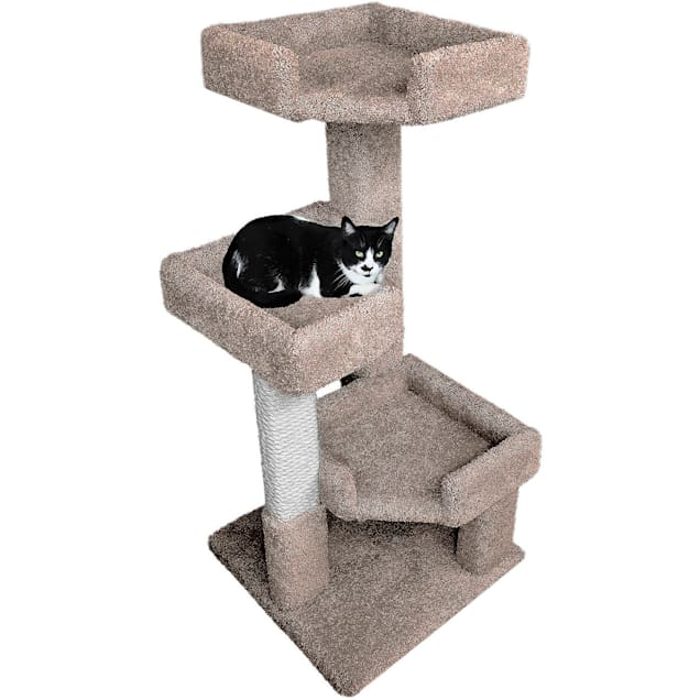 """New Cat Condos 3 Level Brown Solid Wood Triple Kitty Pad, 45"""" H - Carousel image #1"""