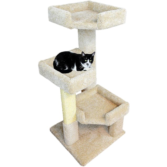 """New Cat Condos 3 Level Tan Solid Wood Triple Kitty Pad, 45"""" H - Carousel image #1"""