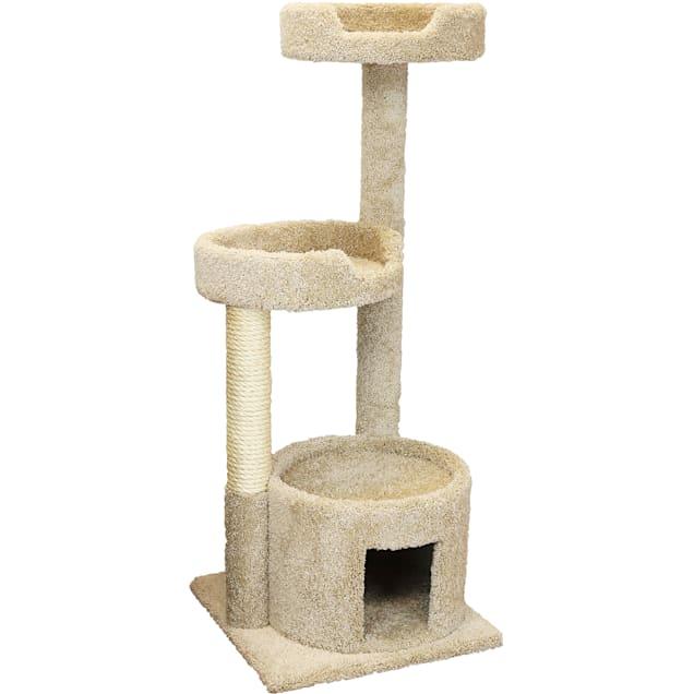 "New Cat Condos 3 Level House Tan Cat Tree, 50"" H - Carousel image #1"