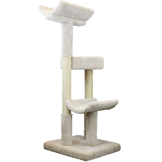 """Prestige Cat Trees 3 Level Solid Wood Tan Double Scratching Post Cat Tower, 56"""" H - Carousel image #1"""