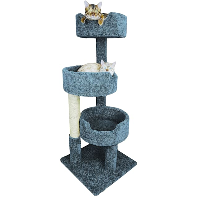 """New Cat Condos 3 Level Blue Deluxe Kitty Pad, 52"""" H - Carousel image #1"""