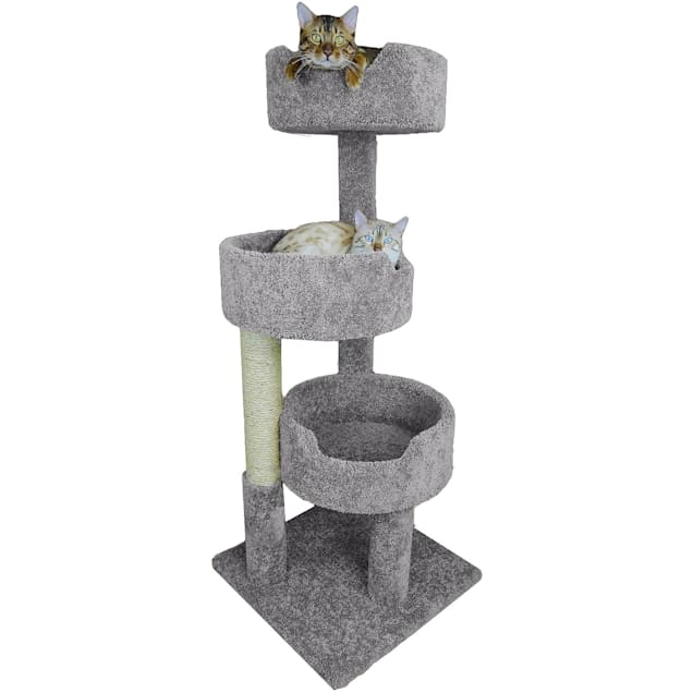 "New Cat Condos 3 Level Grey Deluxe Kitty Pad, 52"" H - Carousel image #1"