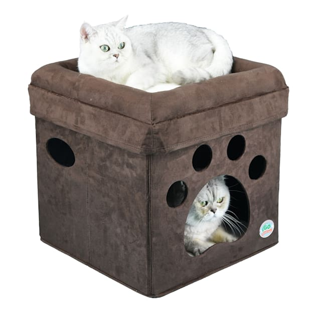 """Go Pet Club Brown Paw Print Comfy Cat Cube Bed, 16"""" L X 16"""" W X 16.5"""" H - Carousel image #1"""