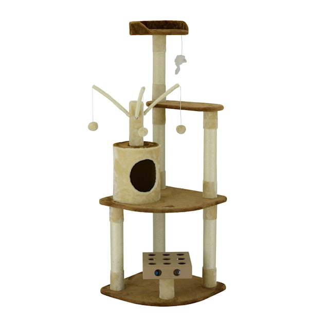 """Go Pet Club IQ Busy Box Cat Tree Condo with Dangling Toys SF053, 60"""" H - Carousel image #1"""