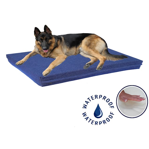 """Go Pet Club Solid Memory Foam Blue Dog Bed with Waterproof Cover, 20"""" L X 25"""" W X 4"""" H - Carousel image #1"""